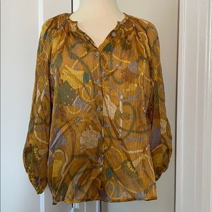 Gorgeous Tucker tassel print blouse size s/m
